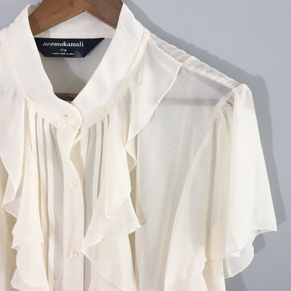 d16b0ee0 Norma Kamali Tops | Sheer Off White Blouse Xl | Poshmark